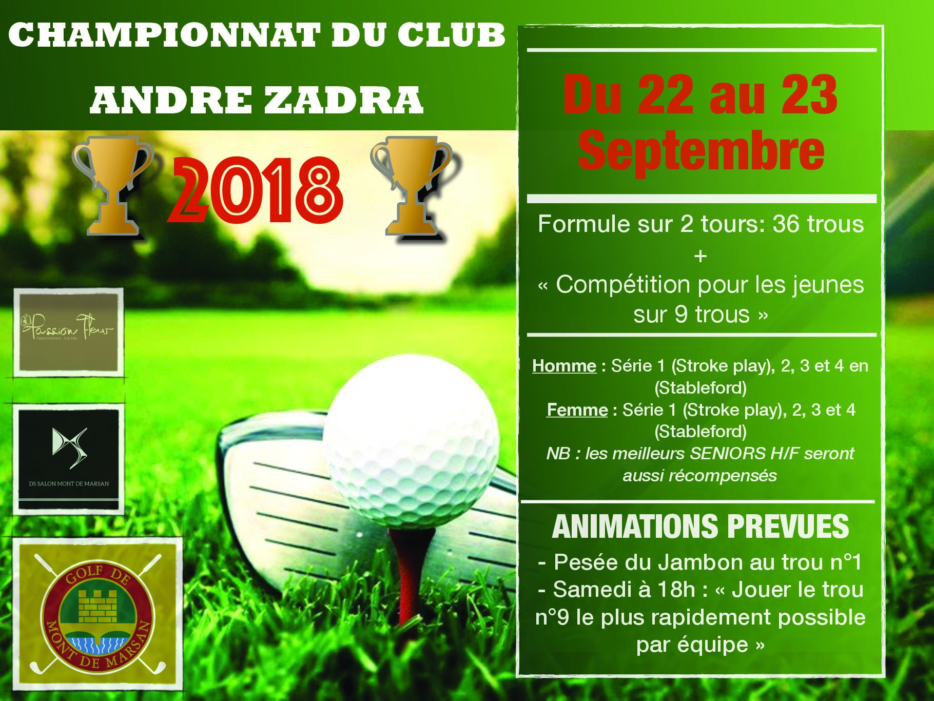 SAVE THE DATE : Championnat du club 2018 du 22 - 23 Septembre