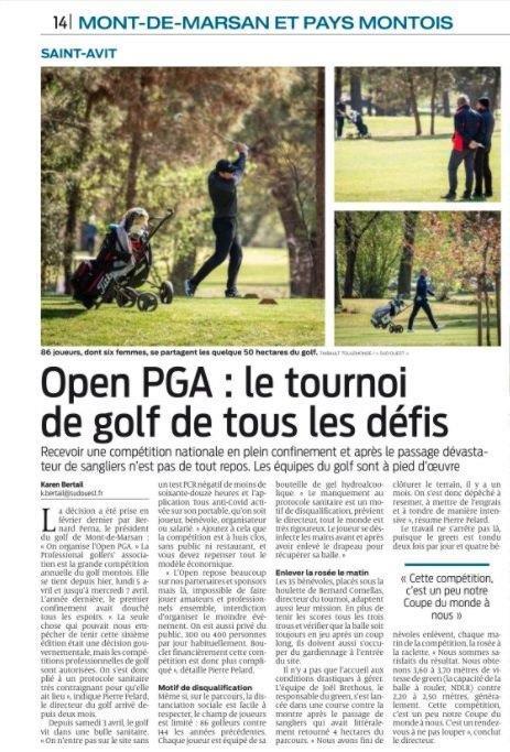 Coup de projecteur sur l'Open PGA France de Mont de Marsan dans Sud Ouest