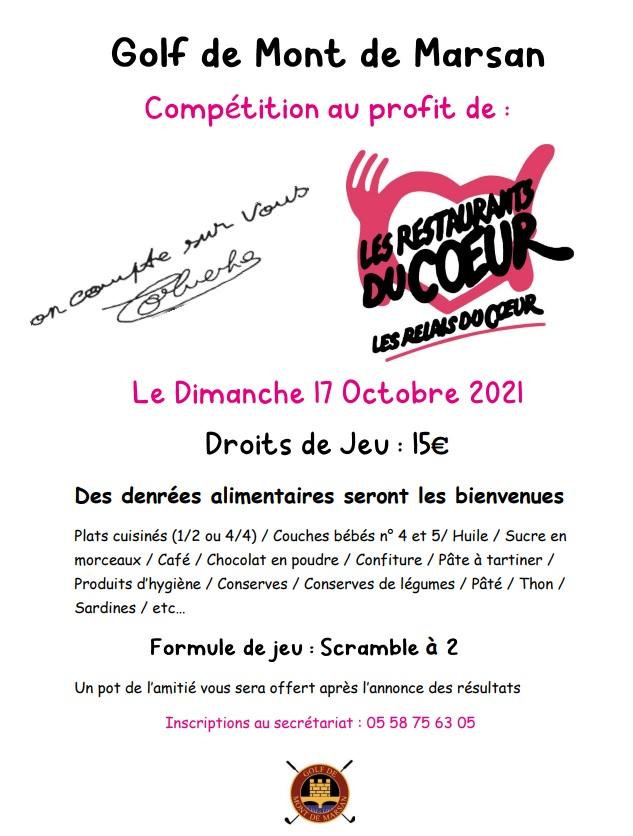 Compétition au profit des Restos du Coeur le dimanche 17 octobre